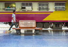 Train of Thailand in station. Royalty Free Stock Images