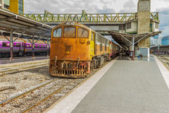 Train of Thailand in station. Stock Photo