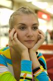 Train of thought. Blond girl is thinking about something Royalty Free Stock Photo