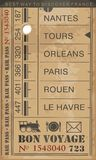Train ticket. Retro illustration with destinations in France vector illustration