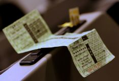 The train ticket. The train ticket is waiting to be punched bythe conductor Royalty Free Stock Images