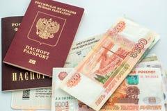 Train tickets, money and passports Royalty Free Stock Photo