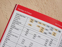 Train timetable Royalty Free Stock Image