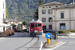 Train in Tirano city, Italy. Royalty Free Stock Photo