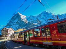 Train to Alps stock photo