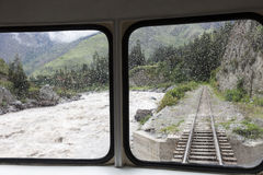 Train to Aquas Calientes in Peru. The village by Machu Picchu stock images
