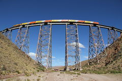 Train to the clouds (Tren a las nubes). The famous train to the clouds crossing the Polvorilla viaduct in Argentina, at elevation of 4200 m above sea level Royalty Free Stock Photography