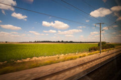 Train to enjoy the scenery. London to Paris royalty free stock image