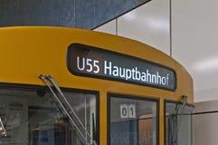 Train to Hauptbahnhof at Berlin, Germany. U55 U-bahn train heading to Hauptbahnhof at Berlin, Germany Royalty Free Stock Photography