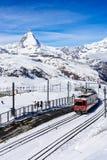 Train to matterhorn peak view point. stock images