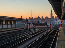 Train to New York City at sunset royalty free stock photos