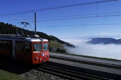 The train to Rigi-Kulm - a major tourist-attraction - near Kaltb. Runn in Central Switzerland stock photography