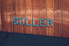 Train to Soller, Mallorca. Lettering Soller in train on Mallorca, Spain Royalty Free Stock Images