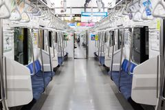 Train to tokyo on the Chuo-Sobu line at 5am royalty free stock photos
