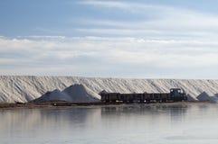 Train to transport salt. Salt industry, Ukraine, Crimea. Salt for food and treatment Royalty Free Stock Photos