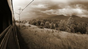 Train Toned. Europe train wide angle Tatra mountains view out the window stock video footage