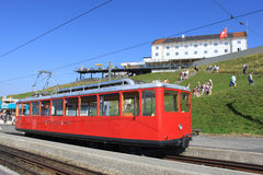 Train at top of Rigi (mountain) Switzerland. Stock Photo