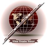 The concept of a train tour around the world stock illustration
