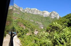 Train towards the Copper Canyon. Heading towards the Copper Canyon on the Chepe train, Chihuahua Mexico Stock Photo