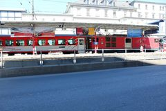 Train in the town of Briga in Switzerland royalty free stock image