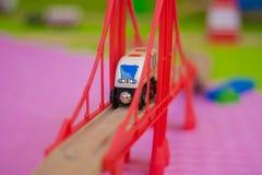 train on a toy bridge royalty free stock photos