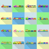 Train toy children icons set, flat style. Train toy children icons set. Flat illustration of 16 train toy children vector icons for web Royalty Free Stock Photos