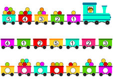 Train Toy math counting game. Train with colorful wagons transporting balls. Help the train driver to count the balls and number correctly the balls loaded in Stock Photos