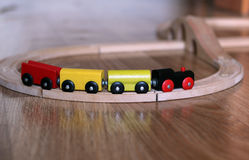 Train toy. Wooden colored transport. Nobody object Royalty Free Stock Photos