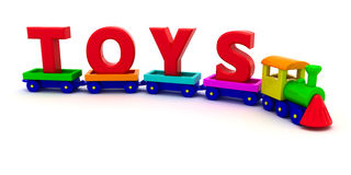 Train with toys. Red letters Toys on the toy train Royalty Free Stock Image