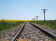 Train track. Empty train track on a summer day royalty free stock image