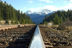 Train track. A train track in the Canadian Rockies Stock Image