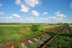 Train track. And sky with clouds Royalty Free Stock Images