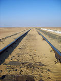Train track. In Egypt at Sahara desert (Libyan). One track for two ways royalty free stock photography