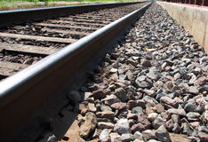 Train track. Perspective view of a train track Royalty Free Stock Photography