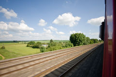 Train Track. Railway tracks pictured from a speeding train Stock Image