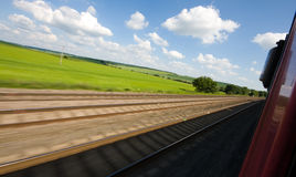 Train Track. Railway tracks pictured from a speeding train Royalty Free Stock Photography