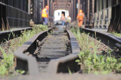 Train Track And Maintenance Crew Stock Images