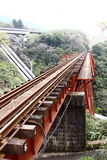 The train track bridge. The red train track bridge in Japan Royalty Free Stock Photos