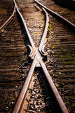 Train Track Detail. Rusty Train Track Rails Detail on a sunny Summer Day stock photos
