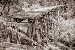 Old train trestle bridge stock images