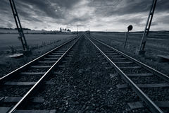 Train track into horizon Stock Photography