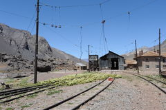 Train track at Las Cuevas in. The Argentine Andes Stock Photos