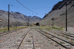 Train track at Las Cuevas in. The Argentine Andes Royalty Free Stock Images