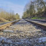 Train track from a lower perspective observing the rails, the sleepers and small stones with dry twigs, losing themselves on the h. Orizon with a blurred stock images