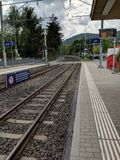 Train track in lugano switzerland. Train system in switzerland, train track Royalty Free Stock Photo