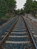 Train track through the mountain. With a curve stock photo