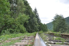 Train track in the mountains Royalty Free Stock Images