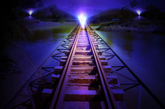 Train track night scenes Royalty Free Stock Image