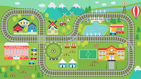 Train track play placemat HD. Lovely city landscape HD train track play mat for children activity and entertainment. Sunny city landscape with mountains, farm Royalty Free Stock Photos