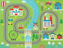 Train track play placemat. Lovely city landscape train track play mat for children activity and entertainment. Sunny city landscape with mountains, farm, factory Royalty Free Stock Photography